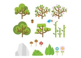 绿色背景卡通树图案
