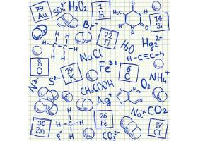 化学算式主题学生手写作业草稿装饰背景