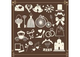 欧式风格婚礼物品剪影主题UI图标设计