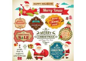 圣诞节花纹边框标签插画矢量素材