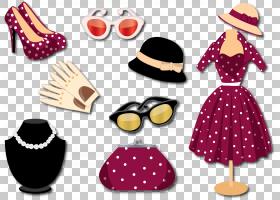 新娘卡通,帽子,洋红色,波尔卡点,新娘,正式着装,复古服装,裙子,着