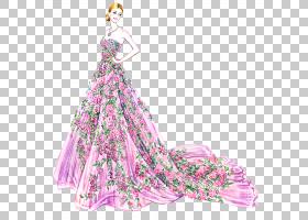 粉红色花卡通,着装,洋红色,服装设计,时装设计,日装,花,长袍,粉红