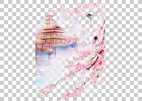 樱花,樱花,花卉设计,花瓣,粉红色,花,山水画,亚洲艺术,中国画,日