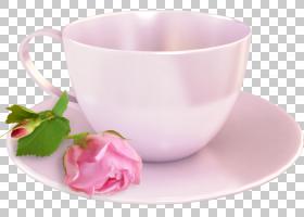 粉红色花卡通,碟子,饮具,服务软件,咖啡杯,茶,餐具,餐具,花瓣,杯