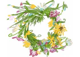 手绘植物花卉花圈主题矢量装饰素材