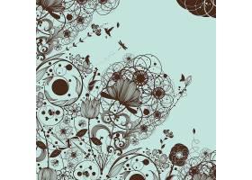 单色植物花卉底纹主题矢量装饰素材