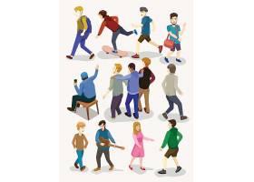 现代人物生活社交主题装饰插画