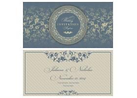 时尚个性欧式花纹边框底纹邀请函封面设计图片