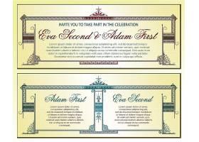 创意复古欧式花纹边框底纹邀请函封面设计图片