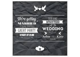 白色创意婚礼邀请函个性英文标签设计图片