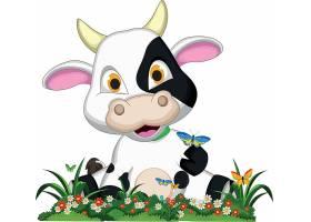 坐着举牌子的儿童卡通动物形象装饰插画