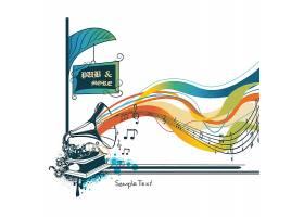 音乐节古典唱机元素装饰插画