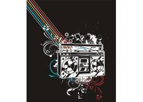 音乐节复古收音机元素装饰插画