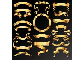 金色金属质感缎带标签素材