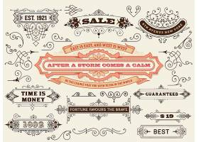 单色欧式复古英文主题花纹边框缎带标签素材
