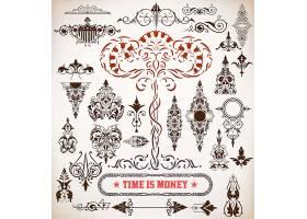 单色欧式复古英文主题花纹边框图案标签素材