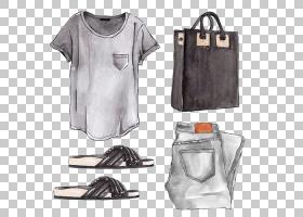花卉剪贴画背景,白色,手提包,鞋,包,口袋,T恤,套筒,时尚,时装设计图片