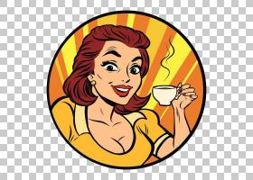 女卡通,幸福,微笑,面部表情,食物,绘图,咖啡杯,女人,喝酒,咖啡馆,