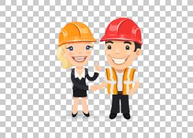 工程师卡通,幸福,帽子,男性,线路,专业,橙色,头盔,手,手指,微笑,