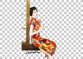 女卡通,时尚模特,时装设计,卡通,女人,海报,中国风,绘图,旗袍,图片