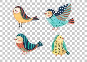 清新文艺水彩手绘鸟类主题插画免扣素材图片