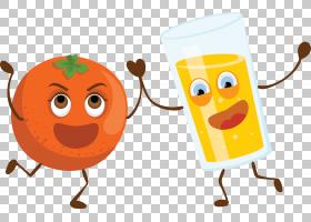 橙子果汁Q版食物类卡通形象免扣素材图片