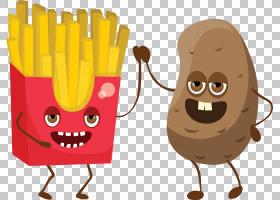 薯条咖啡豆Q版食物类卡通形象免扣素材图片