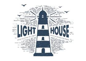 单色海洋灯塔主题标签插画设计