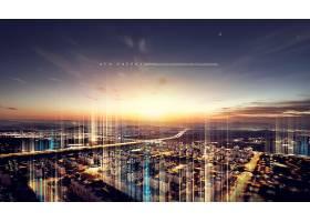 创意现代城市建筑场景房地产开发主题海报设计