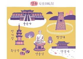 韩式手绘插画风城市地标景区特色食物主题装饰插画