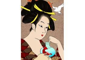 时尚插画 浮世绘系列插画 日式插画
