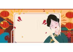 中国风大气国潮风装饰插画海报背景图片