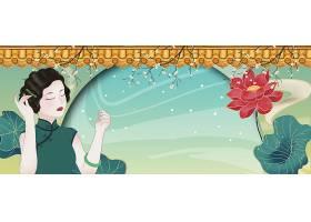 国民女子插画背景