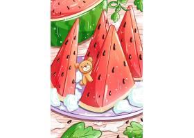 高清小清新西瓜插画素材图片