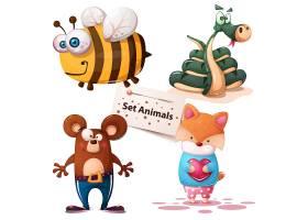 可爱动物手绘水彩画