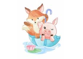 可爱卡通动物插画
