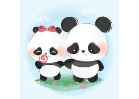 可爱熊猫插画