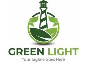 绿色灯塔形象主题LOGO徽章图标设计