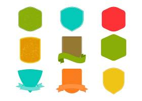 创意多彩的促销标签盾牌缎带装饰元素