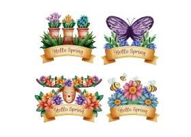 小清新手绘唯美插画风你好春天主题植物花卉标签设计