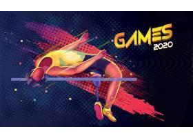 参加人跳高主题体育运动项目矢量插画