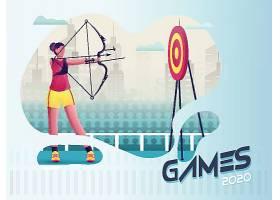 射箭主题体育运动项目矢量插画
