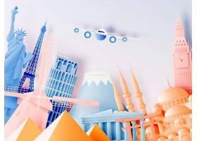 剪纸风格不同旅游景点艺术插画