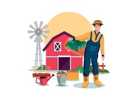 清新绿色庄园农场牧场元素主题装饰插画设计