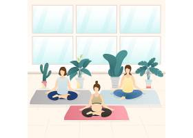 孕妇与瑜伽主题装饰插画
