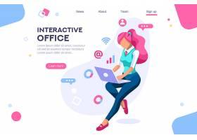 互联网信息技术与生活主题扁平化网页插画设计