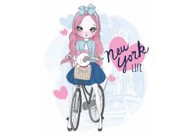 骑自行车的卡通美女