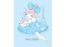 可爱小猫与卡通美女