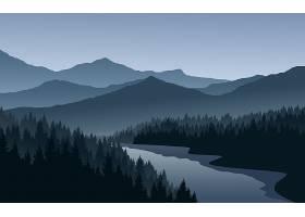 矢量树林风景插画