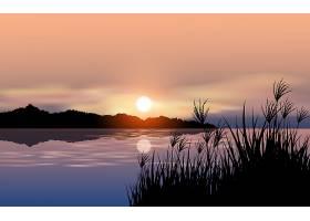 唯美的湖面落日夕阳晚霞